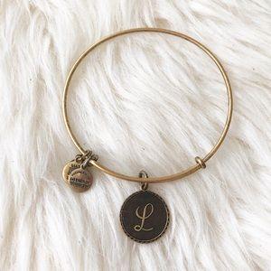 """Alex and Ani Initial """"L"""" Bracelet Bronze Gold-tone"""